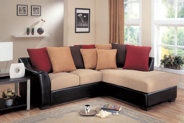 Coaster Small Beige Microfiber Leather Sectional Sofa For Bonded Leather All In One Sectional Sofas With Ottoman And 2 Pillows Brown (View 6 of 15)