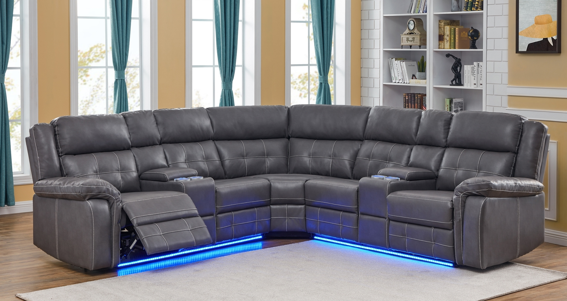 Cobalt Power/Manual Reclining Sectional Sofa With Led For Raven Power Reclining Sofas (View 15 of 15)