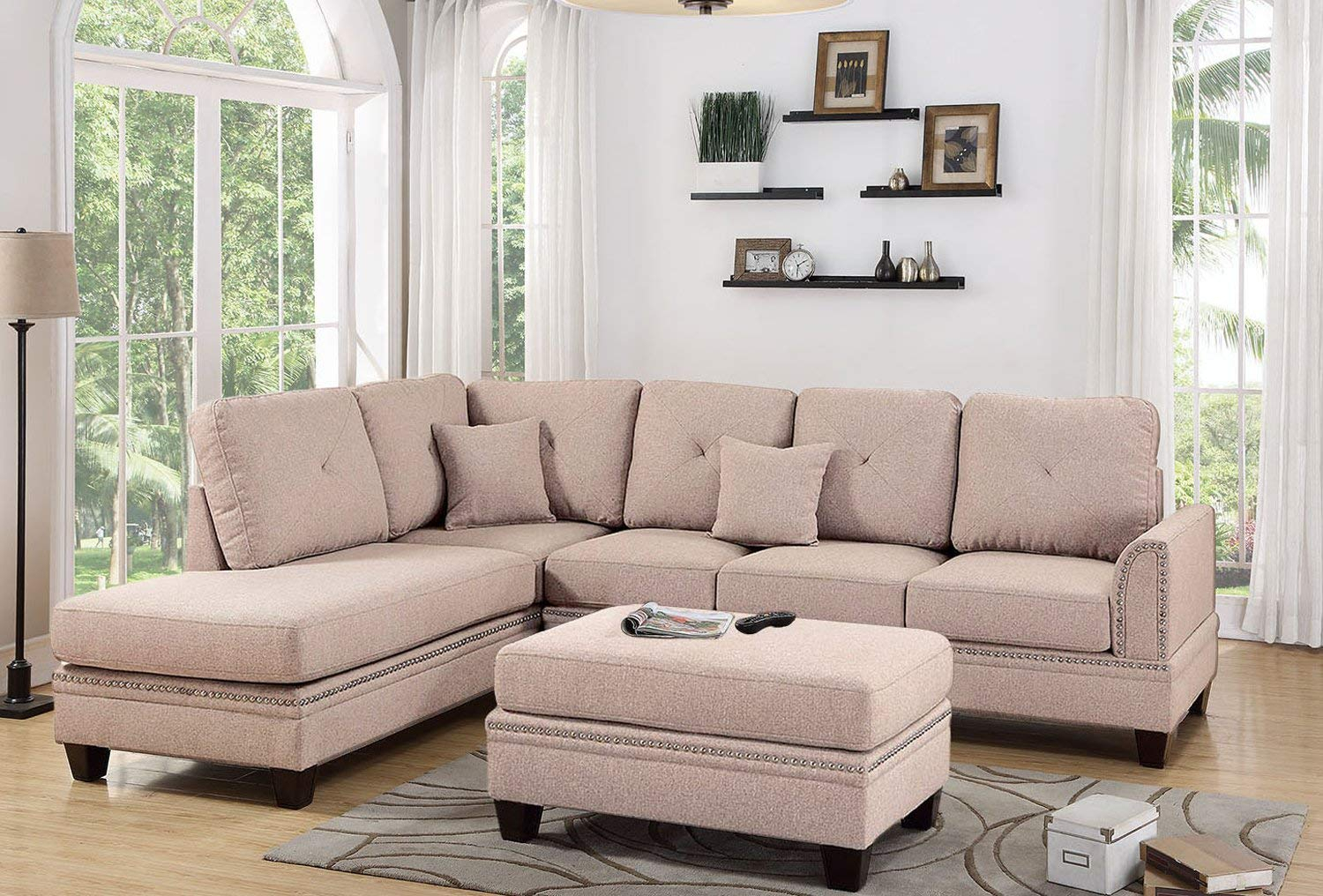 Coffee 2Pc Sectional Sofa With Nail Head Trim Accents Intended For 2Pc Polyfiber Sectional Sofas With Nailhead Trims Gray (View 15 of 15)