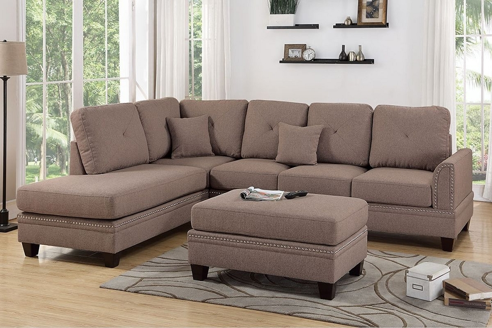 Coffee Polyfiber Reversible Chaise Sectional Sofa + Ottoman For Bonded Leather All In One Sectional Sofas With Ottoman And 2 Pillows Brown (View 1 of 15)