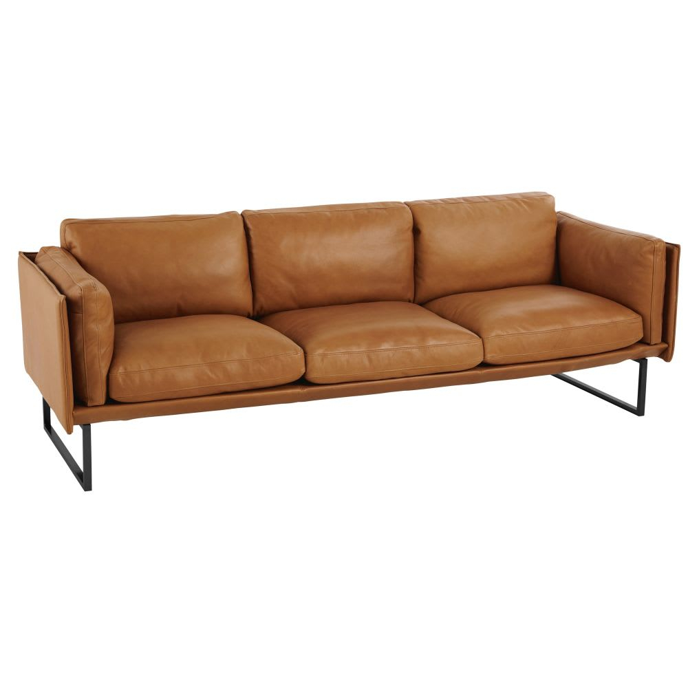 Cognac 4 Seater Leather Sofa Wolfgang | Maisons Du Monde With Regard To 4 Seat Leather Sofas (View 10 of 15)