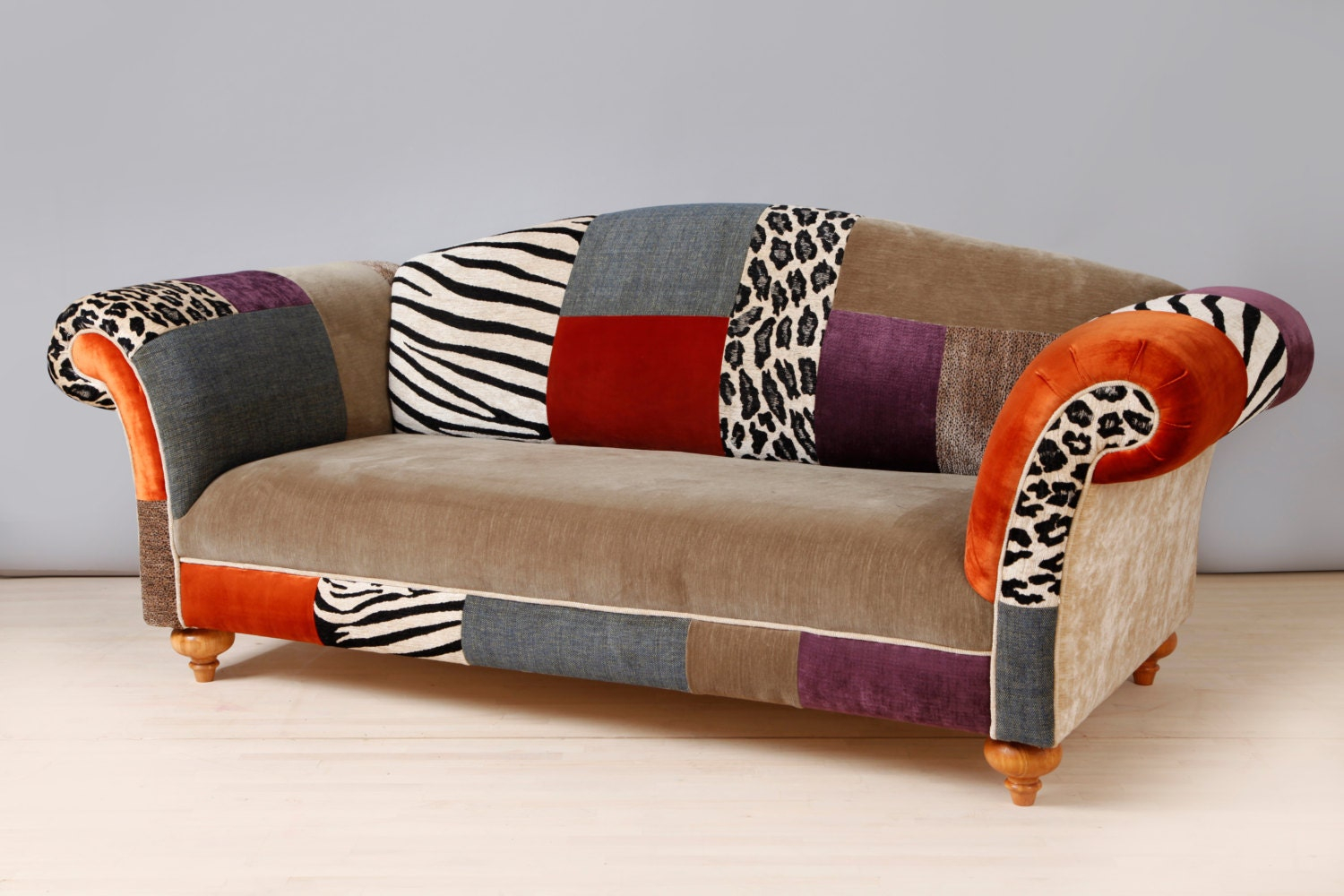Colorful Patchwork Sofanamedesignstudio On Etsy Pertaining To Colorful Sofas And Chairs (View 1 of 15)