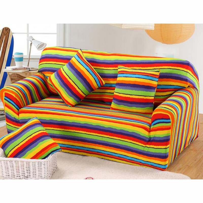 Colorful Rainbow Sugar All Inclusive Sofa Cover Living With Regard To Colorful Sofas And Chairs (View 6 of 15)