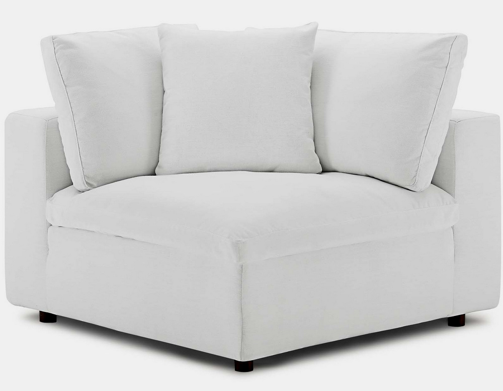 Commix 4Pc White Fabric Overstuffed Sectional Sofa W Within 4Pc Beckett Contemporary Sectional Sofas And Ottoman Sets (View 14 of 15)