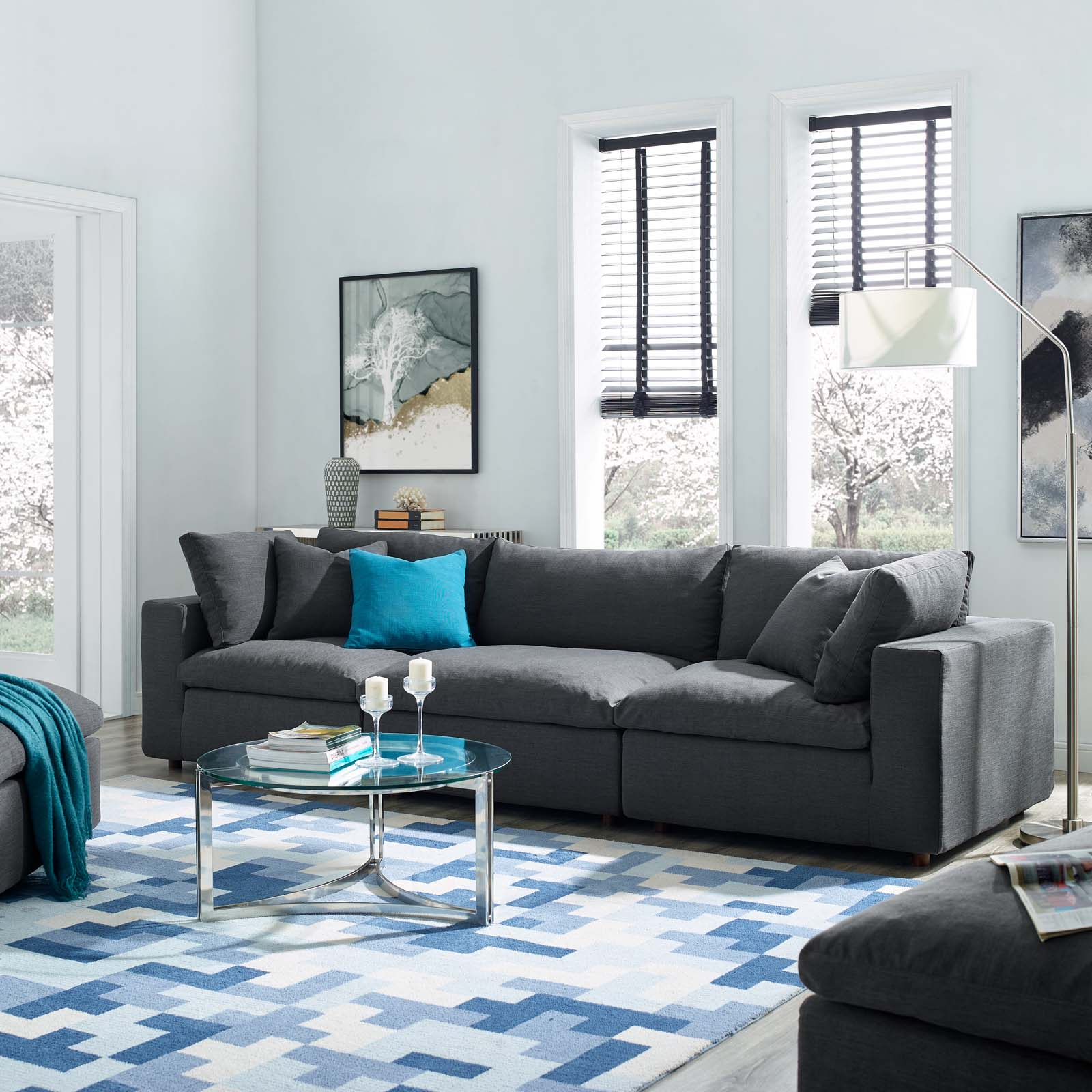Commix Down Filled Overstuffed 3 Piece Sectional Sofa Set For 3Pc Polyfiber Sectional Sofas (View 13 of 15)