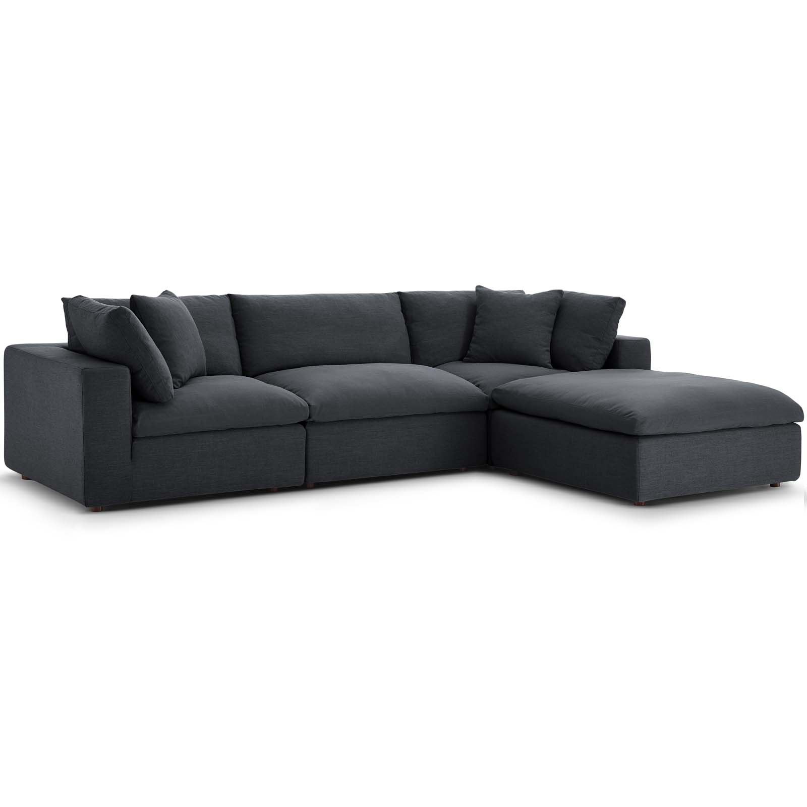 Commix Down Filled Overstuffed 4 Piece Sectional Sofa Set Gray Intended For Down Filled Sofas (View 4 of 15)