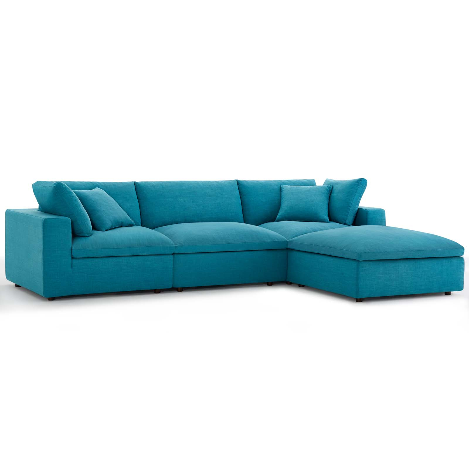 Commix Down Filled Overstuffed 4 Piece Sectional Sofa Set Teal For Down Filled Sectional Sofas (View 14 of 15)