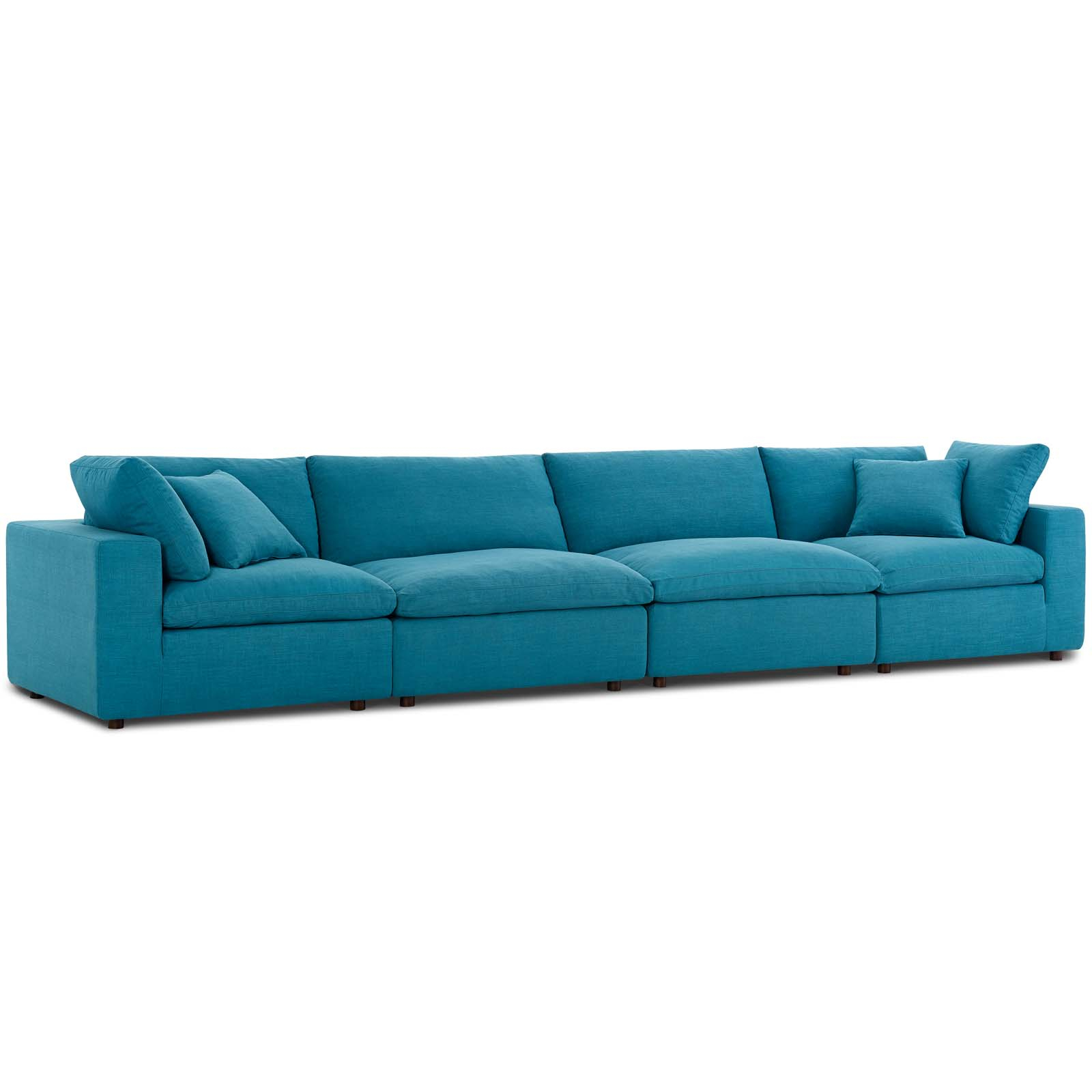 Commix Down Filled Overstuffed 4 Piece Sectional Sofa Set Teal In Down Filled Sectional Sofas (View 13 of 15)
