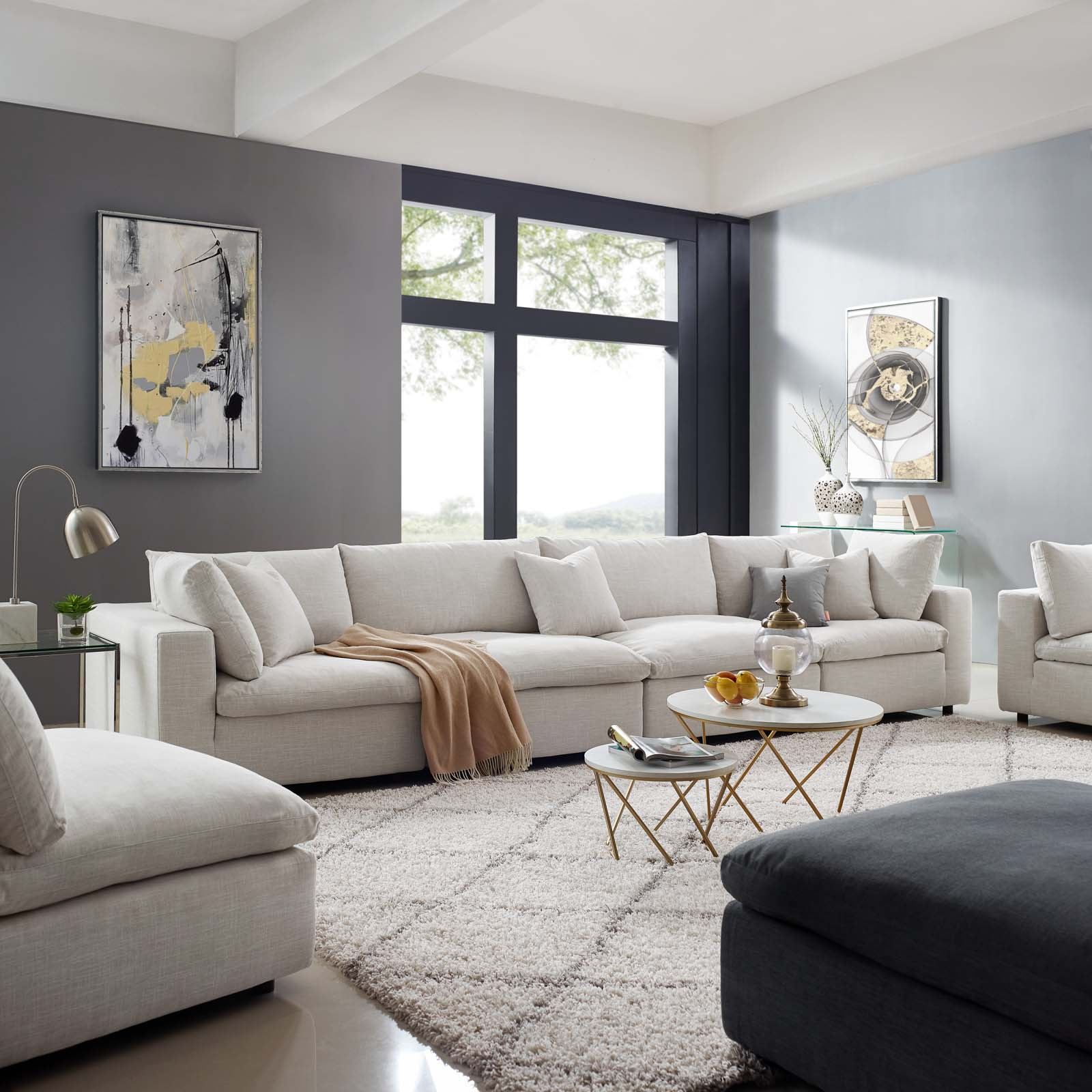 Commix Down Filled Overstuffed 4 Piece Sectional Sofa Set Within Down Filled Sectional Sofas (View 7 of 15)