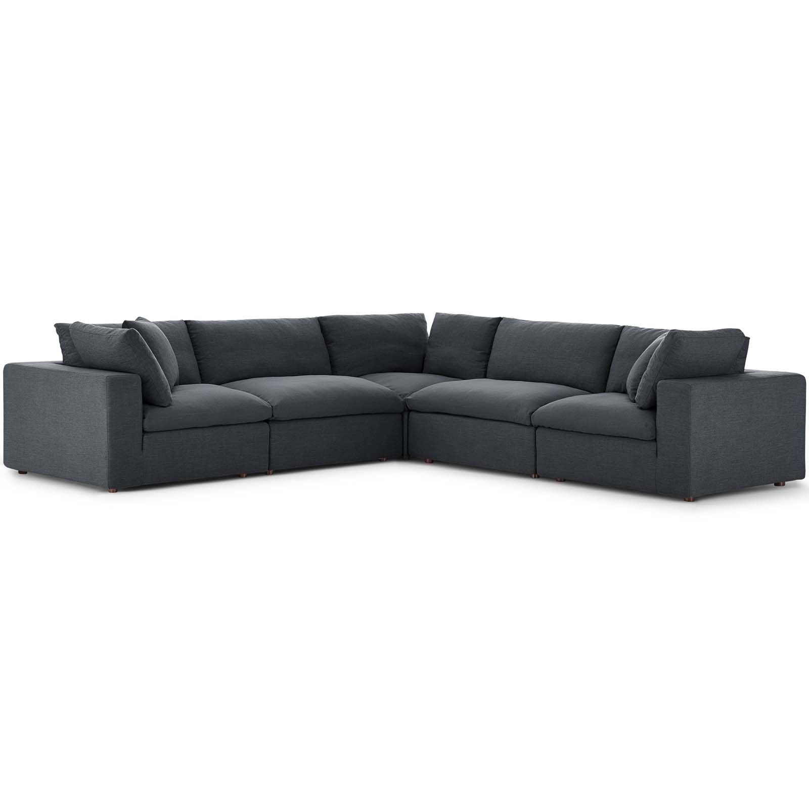 Commix Down Filled Overstuffed 5 Piece Sectional Sofa Set Gray Within Down Filled Sectional Sofas (View 5 of 15)