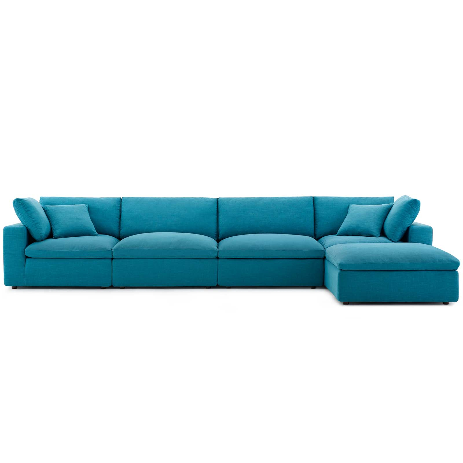 Commix Down Filled Overstuffed 5 Piece Sectional Sofa Set Teal For Down Filled Sofas (View 1 of 15)