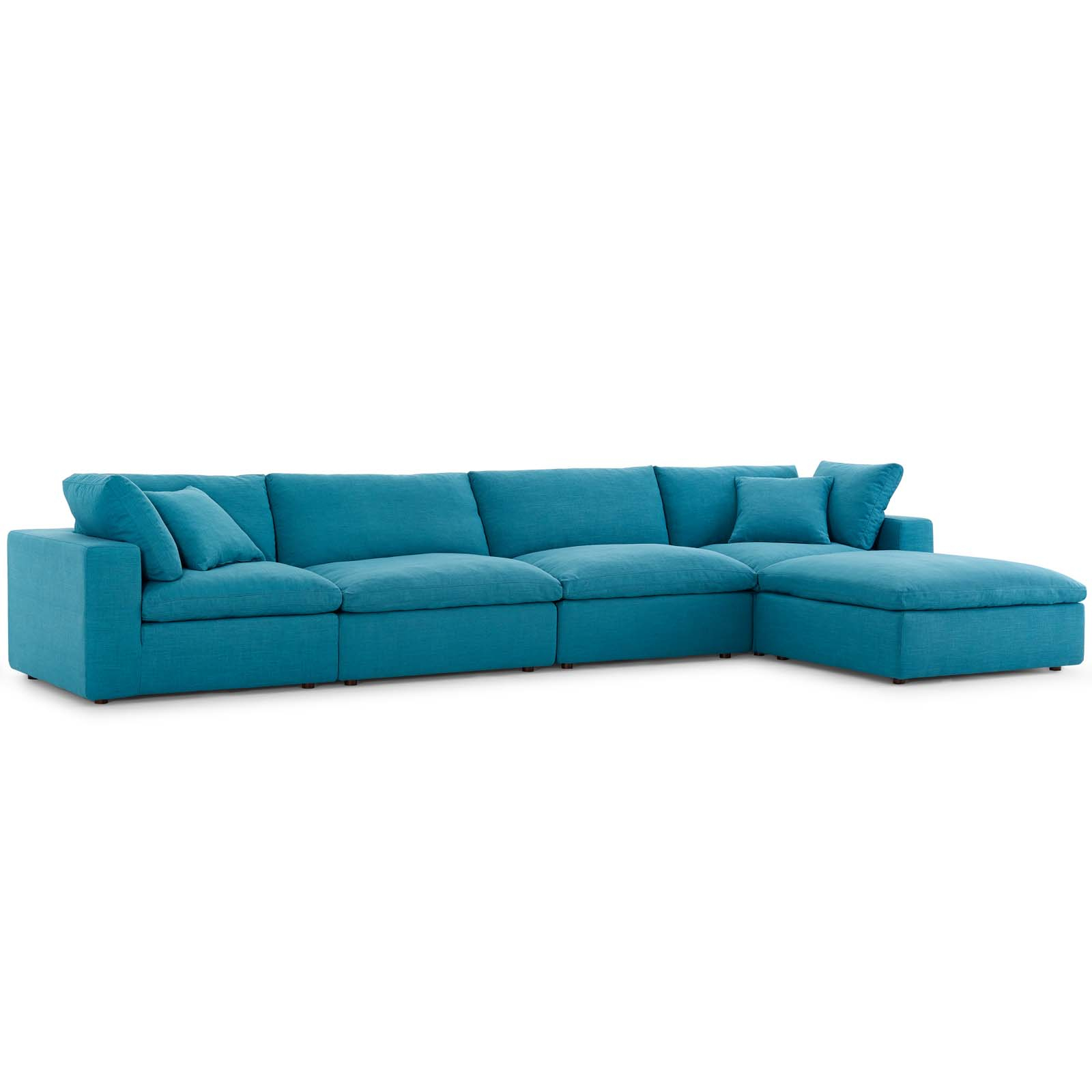 Commix Down Filled Overstuffed 5 Piece Sectional Sofa Set Teal Throughout Down Filled Sectional Sofas (View 11 of 15)