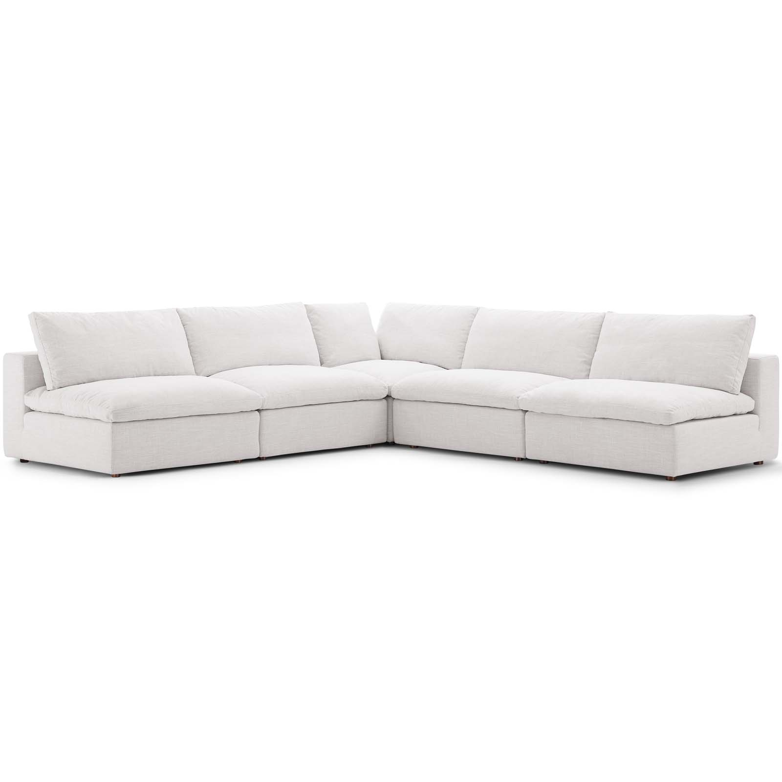 Commix Down Filled Overstuffed 5 Piece Sectional Sofa Set Within Down Filled Sectional Sofas (View 6 of 15)