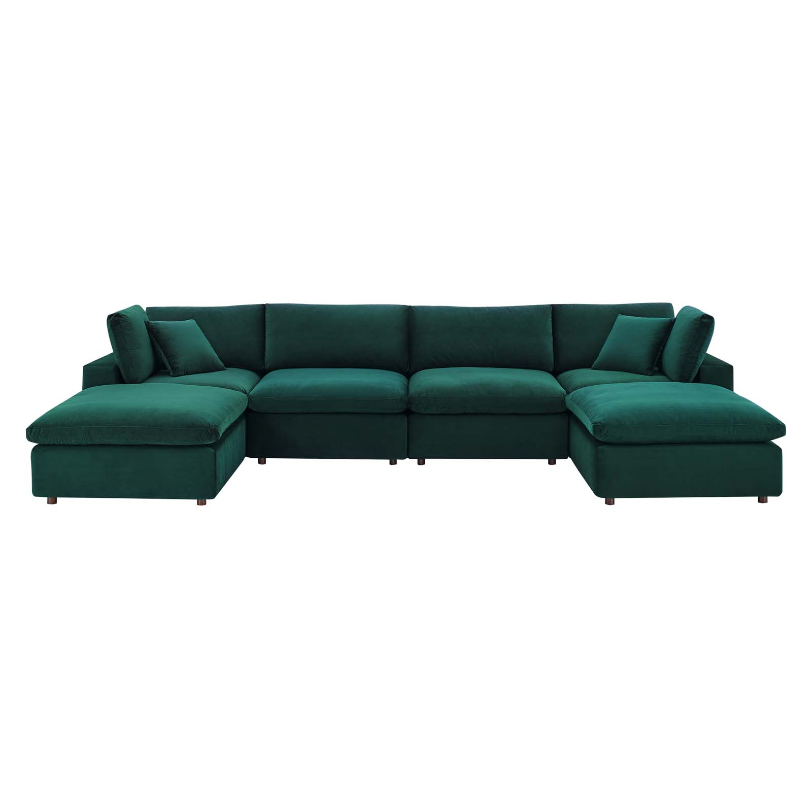 Commix Down Filled Overstuffed Performance Velvet 6 Piece Regarding Down Filled Sectional Sofas (View 3 of 15)