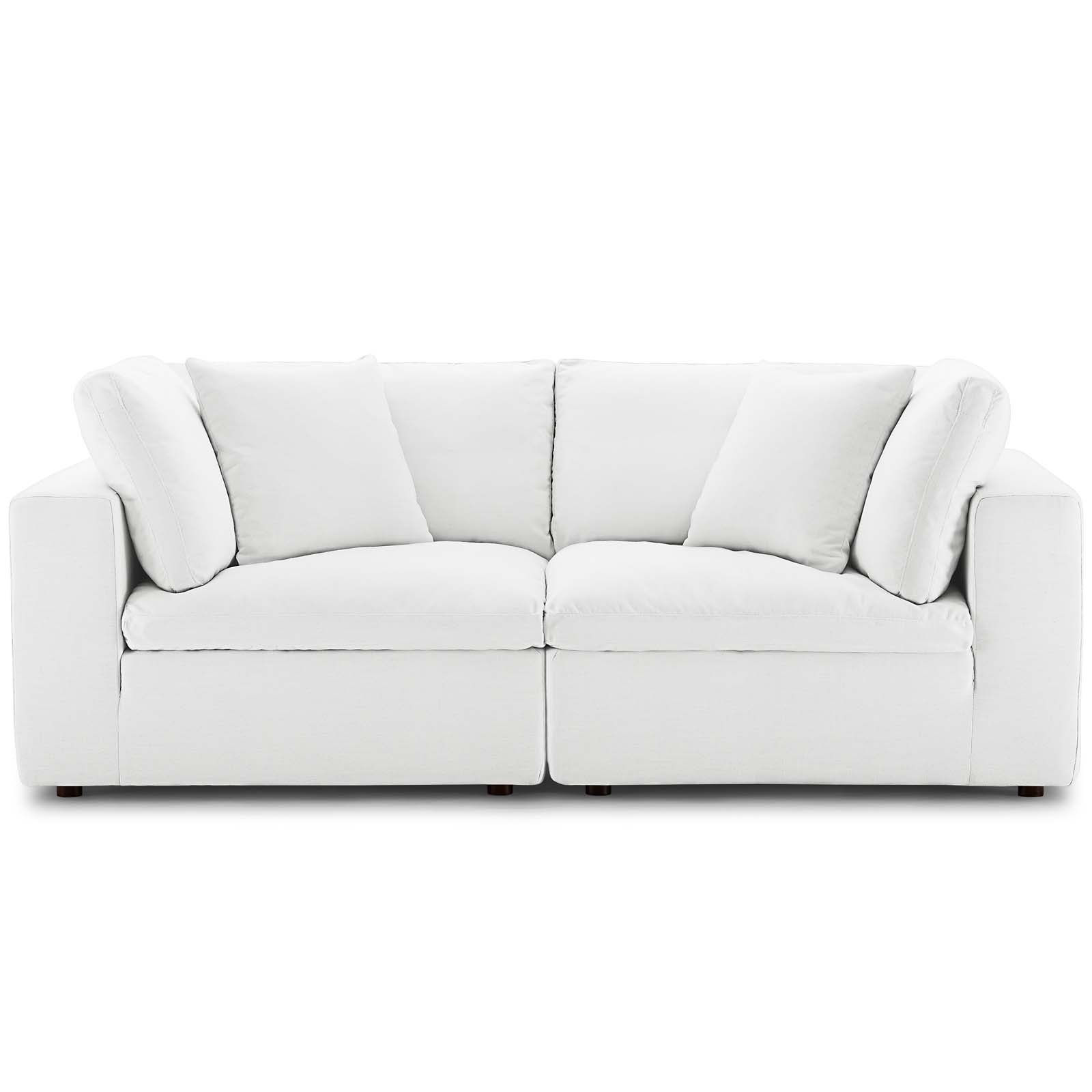 Commix White Down Filled Overstuffed 2 Piece Sectional Pertaining To Down Filled Sectional Sofas (View 12 of 15)