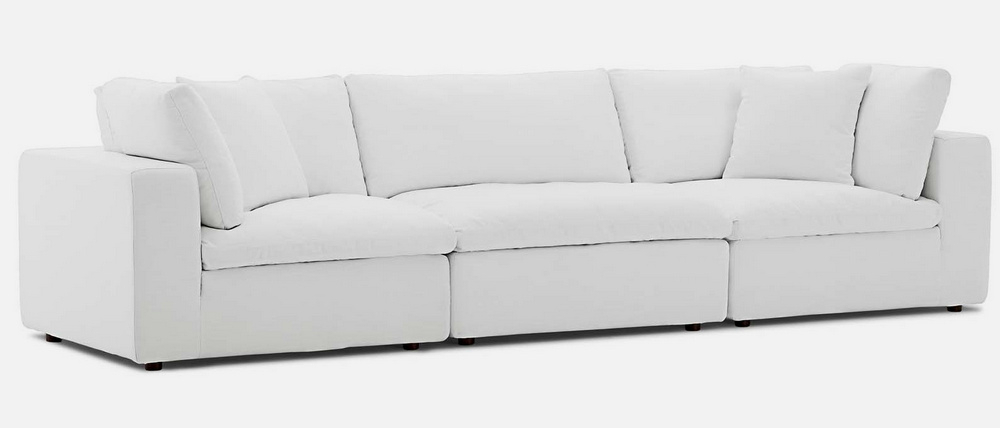 Commix White Fabric Overstuffed Sofamodway Throughout Overstuffed Sofas And Chairs (View 8 of 15)