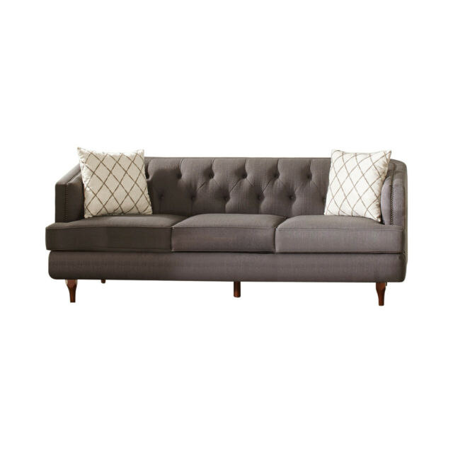 Contemporary Grey Color Upholster Nailhead Trim Sofa Throughout Radcliff Nailhead Trim Sectional Sofas Gray (View 14 of 15)