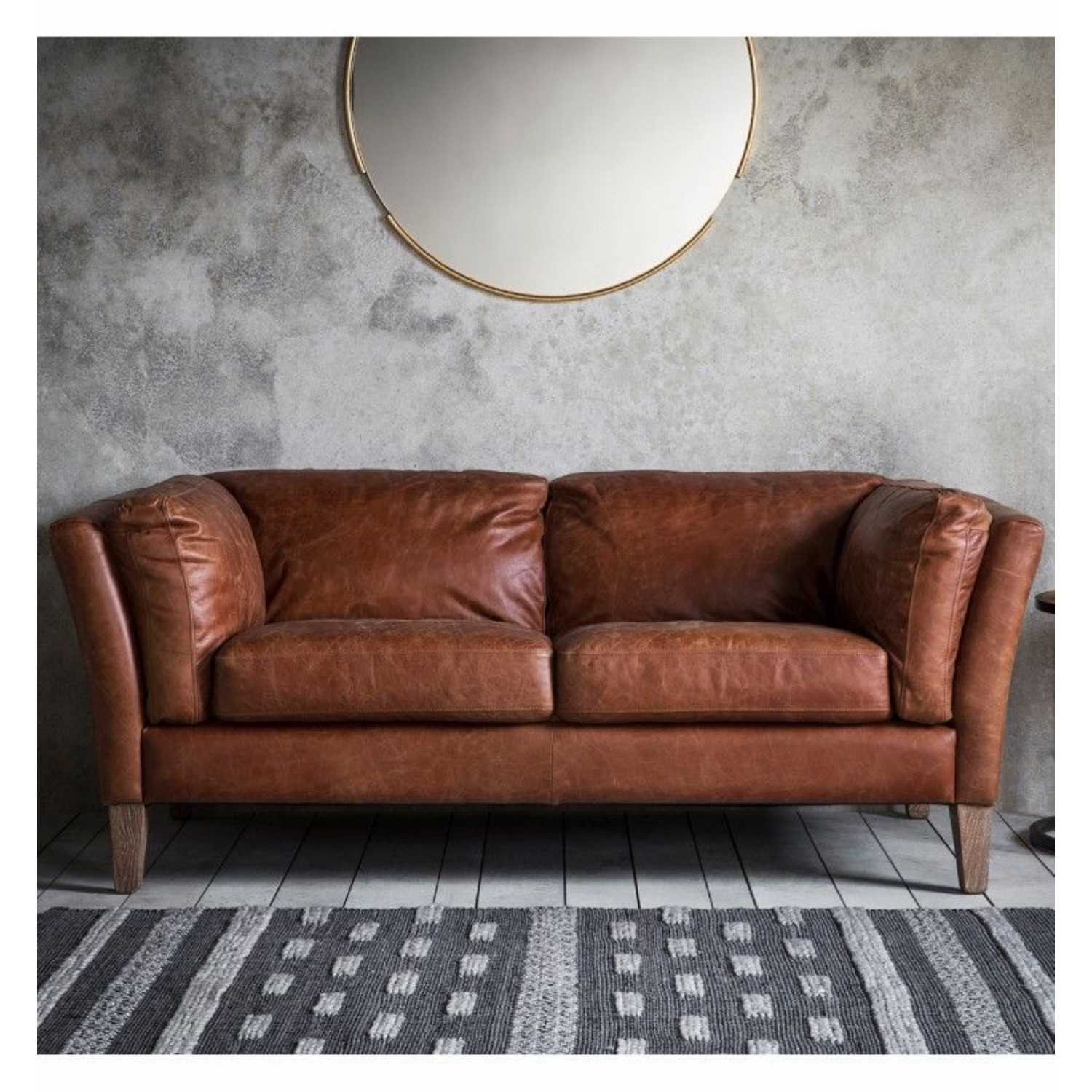 Contemporary Mellow Brown Vintage Leather 2 Seater Sofa On Regarding 2 Seater Sofas (View 6 of 15)
