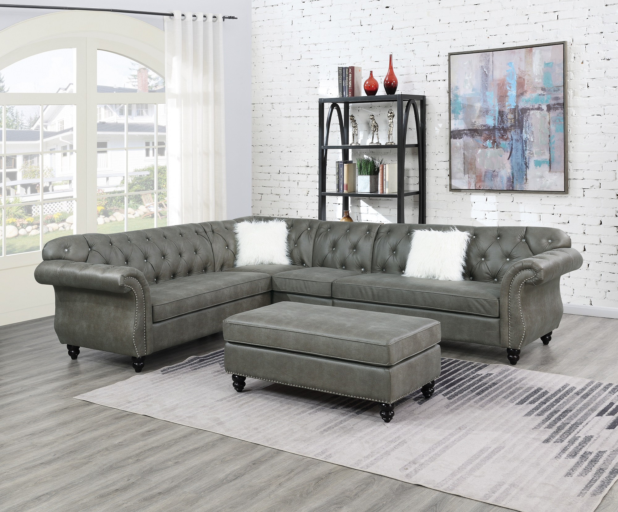 Contemporary Modern Living Room Sectional Sofa Set Slate Pertaining To 4Pc Beckett Contemporary Sectional Sofas And Ottoman Sets (View 2 of 15)