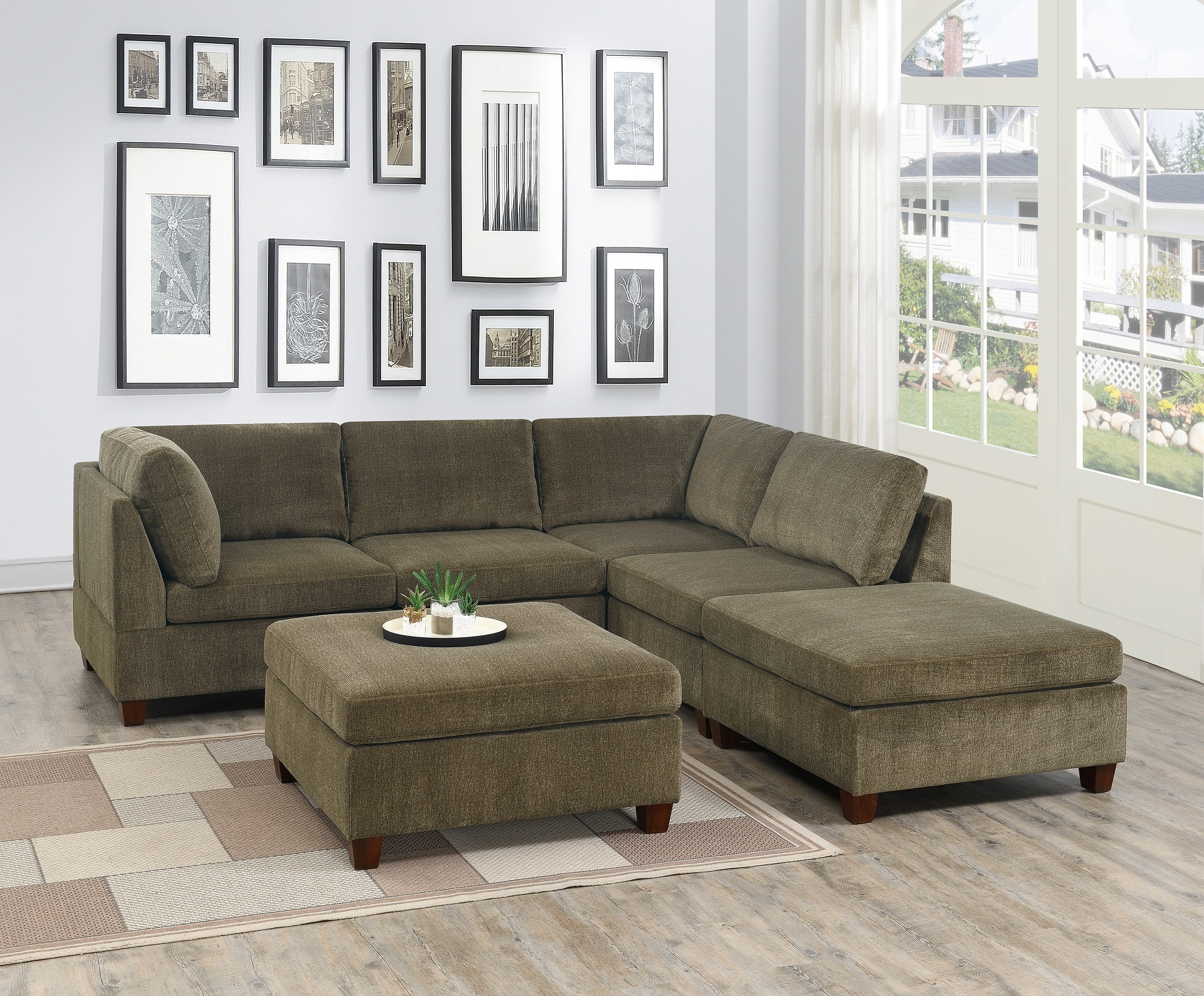 Contemporary Modern Unique Modular 6Pc Sectional Sofa Set Intended For Mireille Modern And Contemporary Fabric Upholstered Sectional Sofas (View 1 of 15)