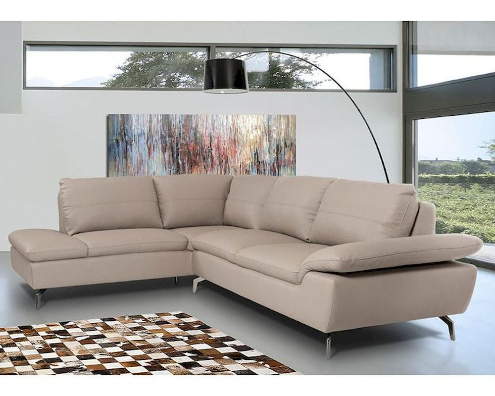 Contemporary Sectional Sofa In Grey Leather 44L5990 Regarding Ludovic Contemporary Sofas Light Gray (View 2 of 15)
