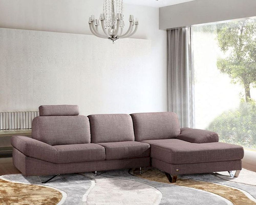 Contemporary Style Grey Fabric Sectional Sofa 44L6077 In Fabric Sofas (View 6 of 15)
