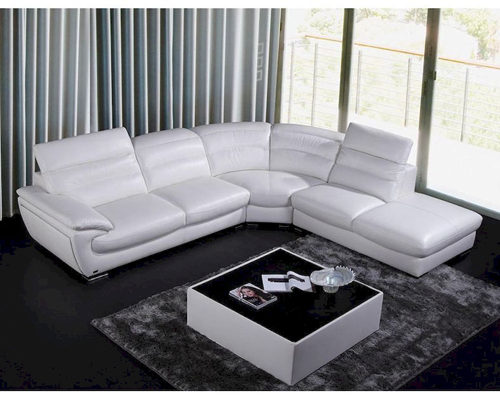 Contemporary White Eco Leather Sectional Sofa 44L6050 With Regard To Sectional Sofas In White (View 1 of 15)