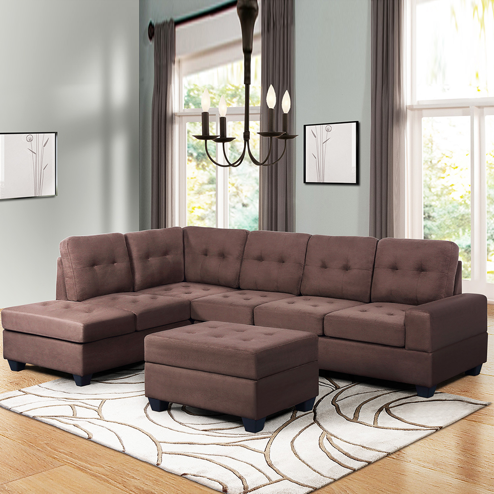 """Convertible Sectional Sofa Couch, 103"""" L Shaped Mid With Regard To Verona Mid Century Reversible Sectional Sofas (View 14 of 15)"""