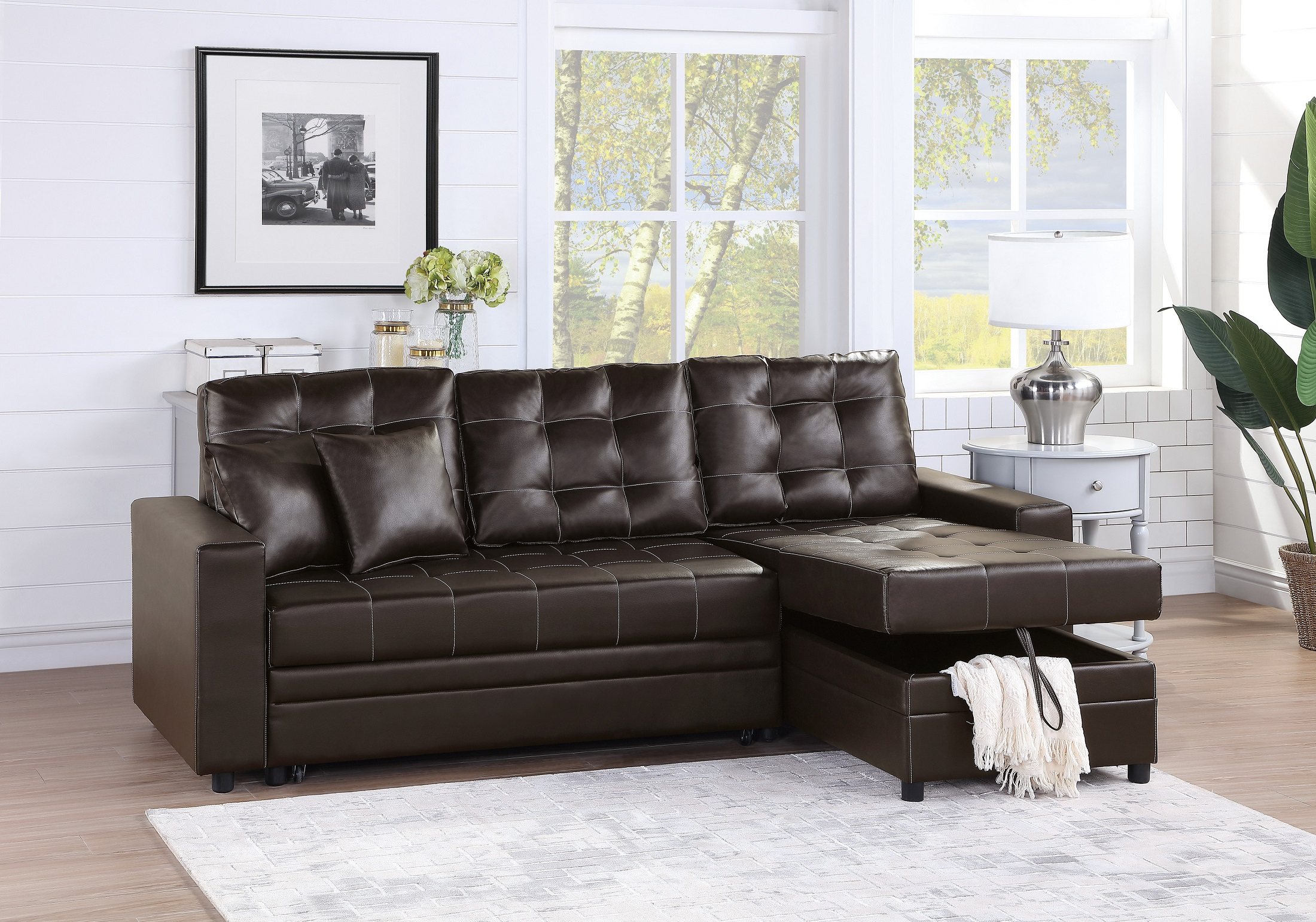 Convertible Sectional Sofa Set Living Room Furniture 2Pc Throughout 4Pc Crowningshield Contemporary Chaise Sectional Sofas (View 2 of 15)