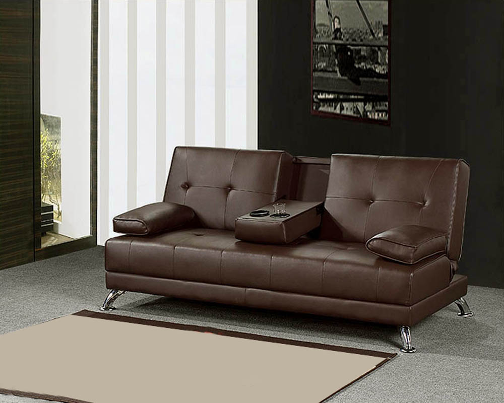 Convertible Sofa In Espresso Finish Mf F2033 With Regard To Convertible Sofas (View 10 of 15)