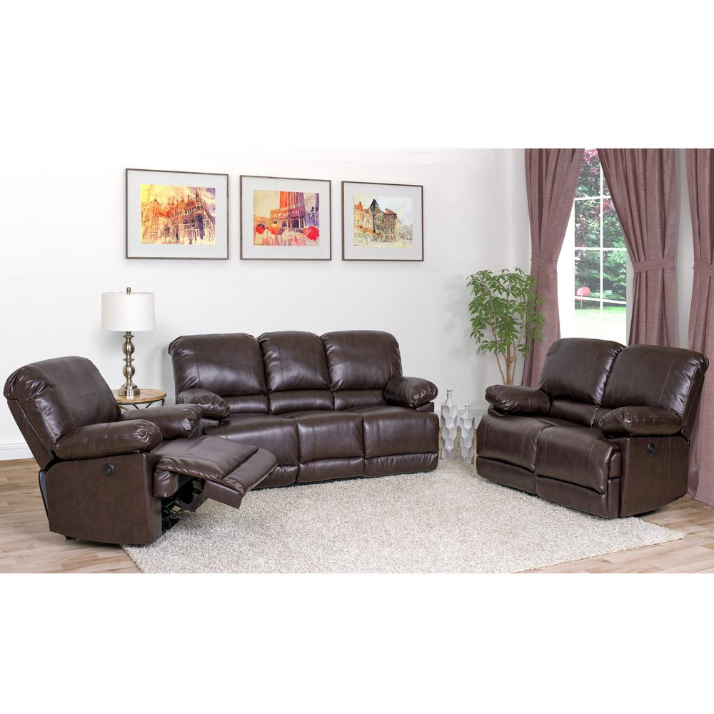 Corliving Lea 3 Piece Chocolate Brown Bonded Leather Power With 3Pc Bonded Leather Upholstered Wooden Sectional Sofas Brown (View 7 of 15)