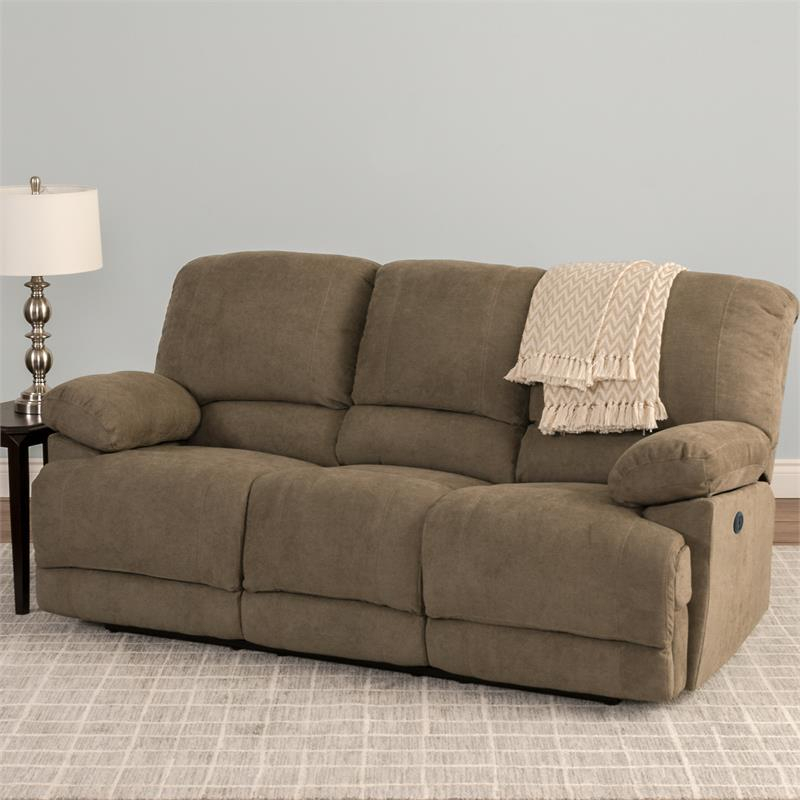 Corliving Lea Brown Chenille Fabric Power Reclining Sofa For Power Reclining Sofas (View 13 of 15)