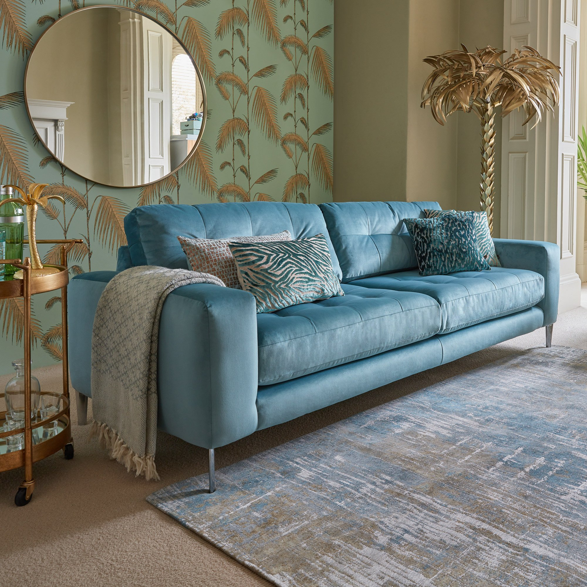 Cortina Blue Fabric Extra Large Sofa For Wide Sofa Chairs (View 3 of 15)