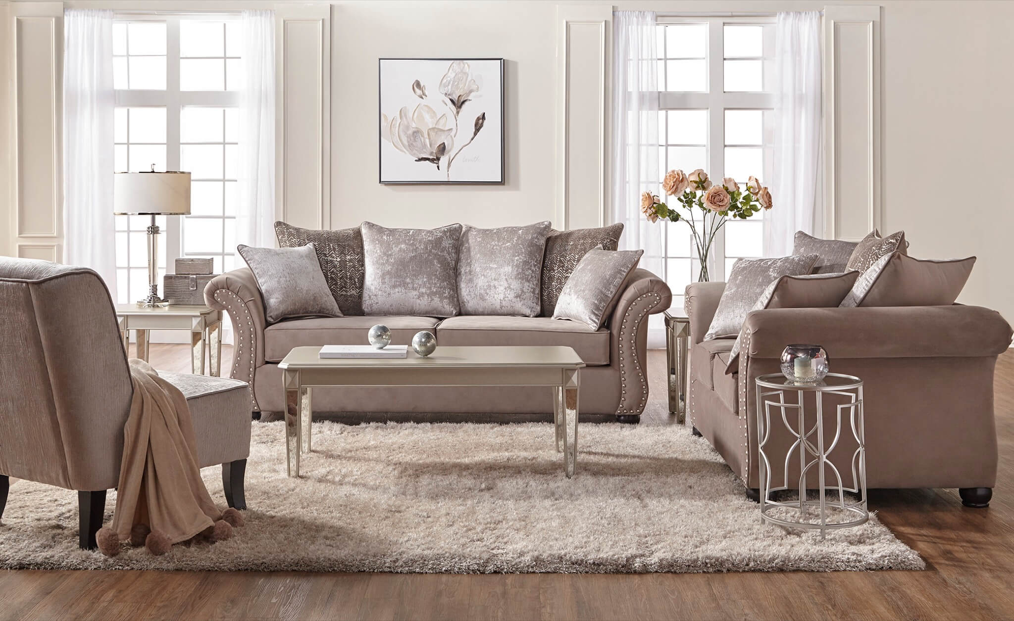 Cosmo Putty Sofa And Loveseat | Fabric Living Room Sets Throughout Living Room Sofa And Chair Sets (View 10 of 15)