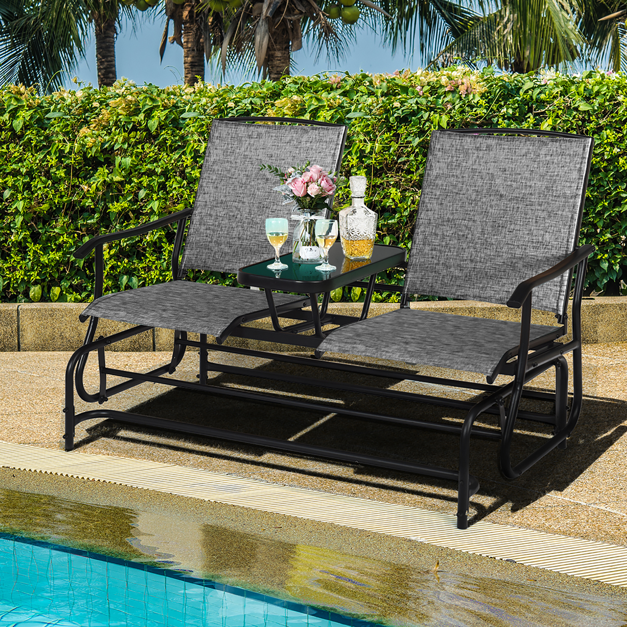 Costway 2 Person Outdoor Patio Double Glider Chair For Rocking Sofa Chairs (View 15 of 15)