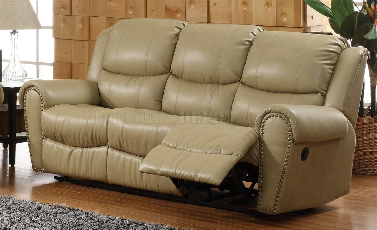 Cream Bonded Leather Transitional Reclining Sofa W/Options With Regard To Cream Colored Sofas (View 12 of 15)