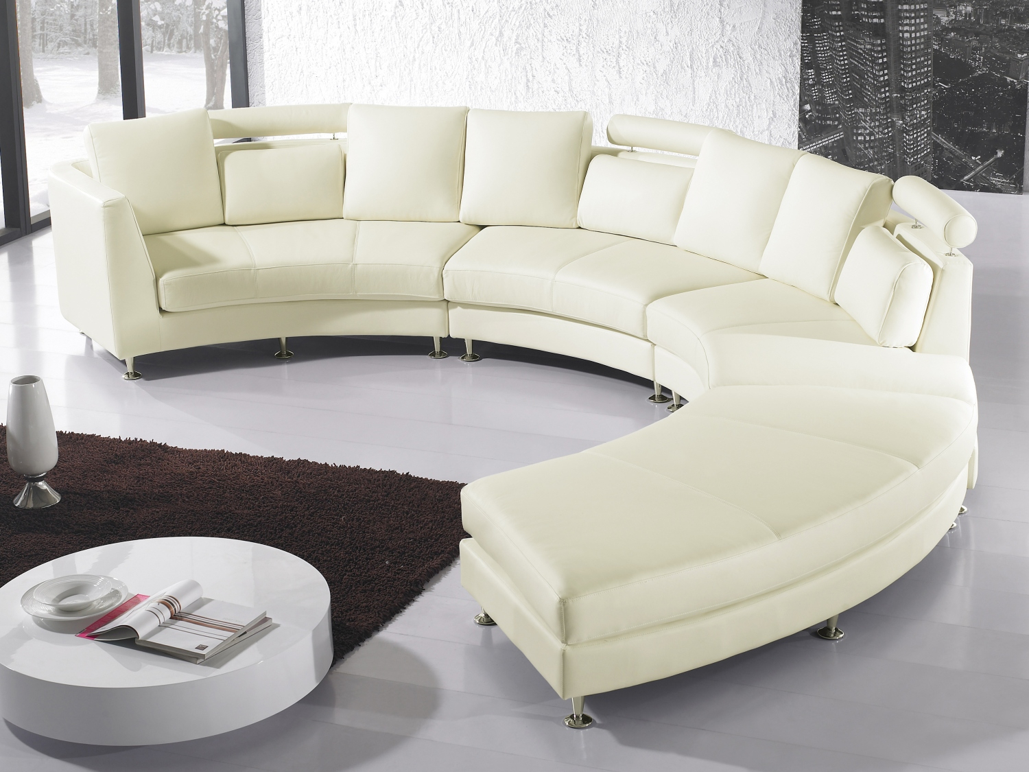 Cream Leather Corner Sofa 7 Seater Couch Large Circle Within Leather Corner Sofas (View 3 of 15)