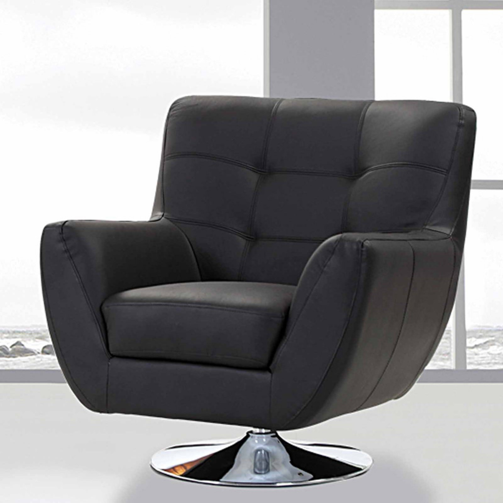Creative Images International Swivel Accent Chair – Black With Regard To Swivel Sofa Chairs (View 2 of 15)