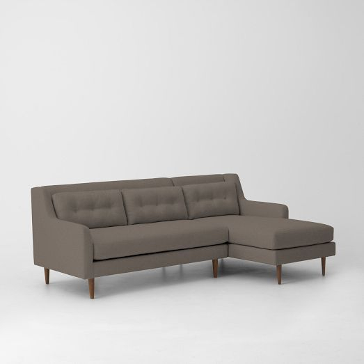Crosby Mid Century 2 Piece Chaise Sectional | Sectional In Dulce Mid Century Chaise Sofas Dark Blue (View 14 of 15)