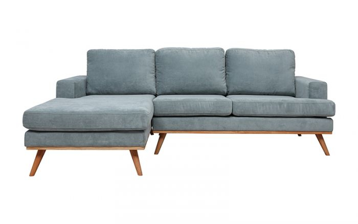 Cruze 2 Seater + Chaise Lhf In Holly Dusty Green – Fabric Throughout Brayson Chaise Sectional Sofas Dusty Blue (View 5 of 15)