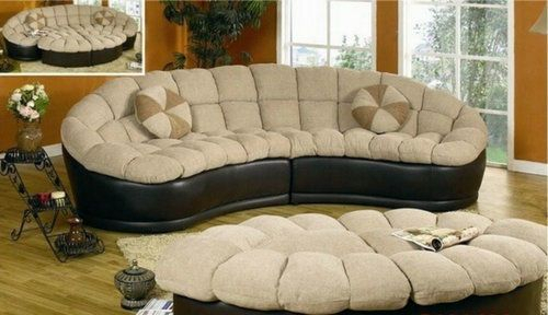 Curved Sectional Sofa Round Couch Ottoman Set Modern Pertaining To 4Pc Beckett Contemporary Sectional Sofas And Ottoman Sets (View 5 of 15)