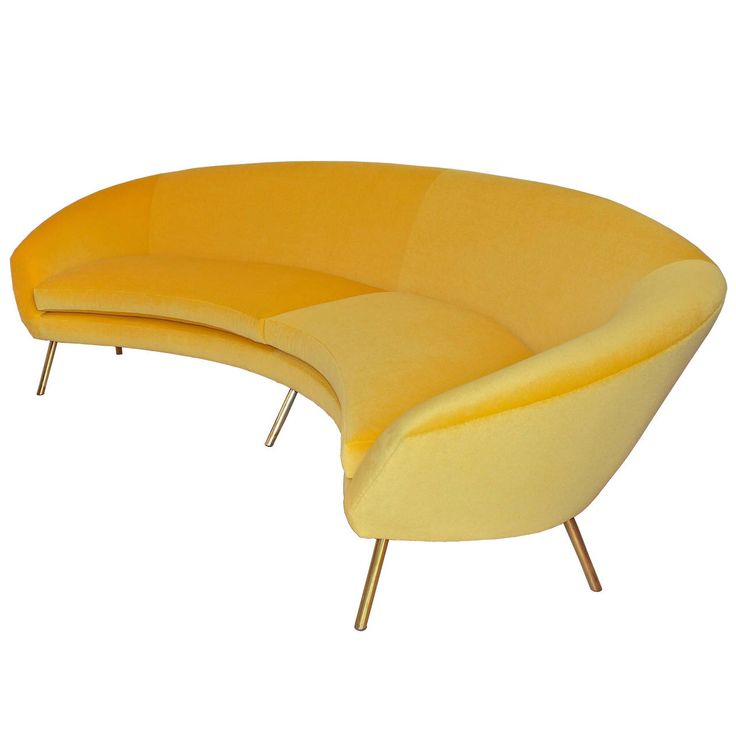 Curved Yellow Sofa! Love! | Furniture, Vintage Sofa In Yellow Sofa Chairs (View 4 of 15)