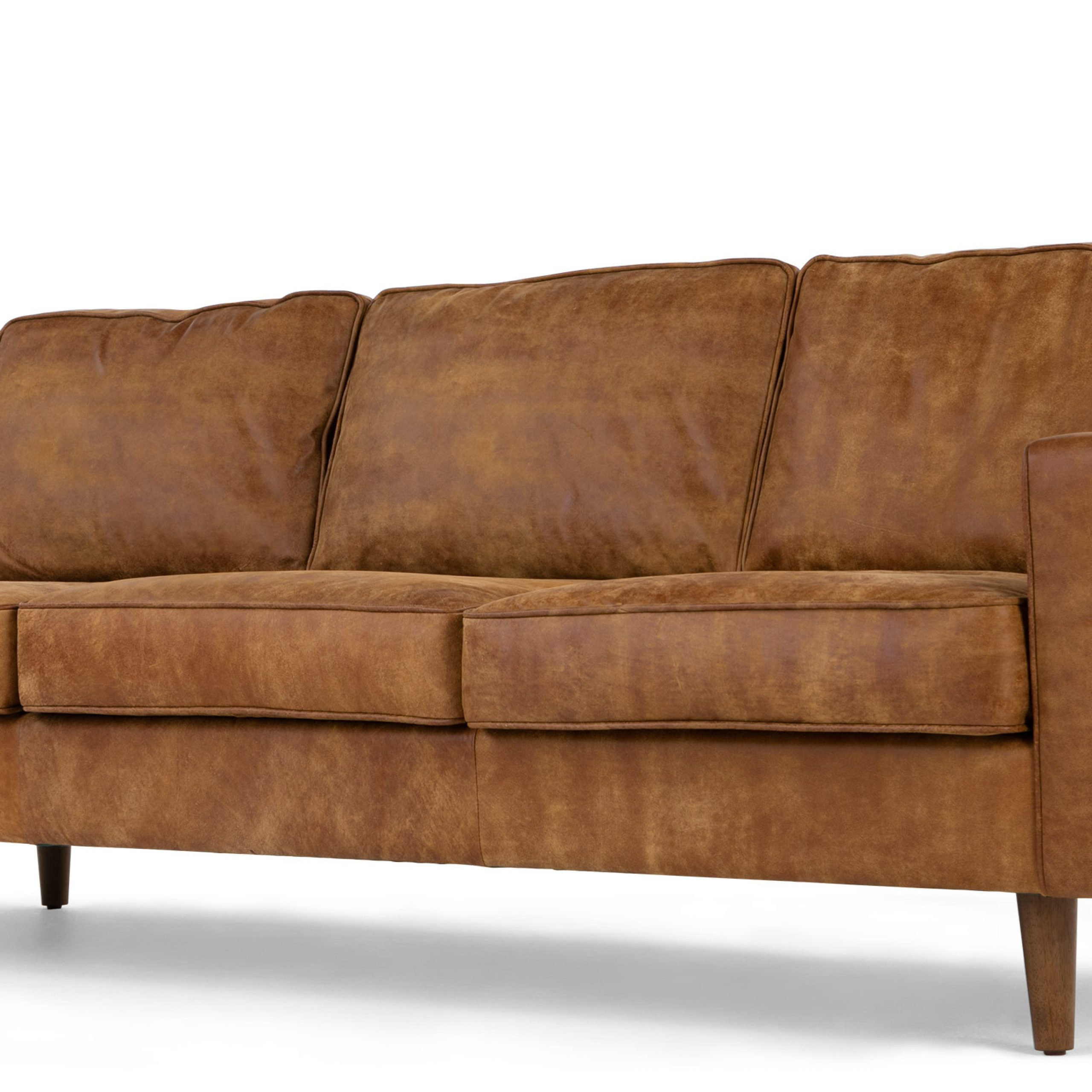 Dallas 3 Seater Sofa, Outback Tan Premium Leather | Made With Regard To 3 Seater Leather Sofas (View 11 of 15)