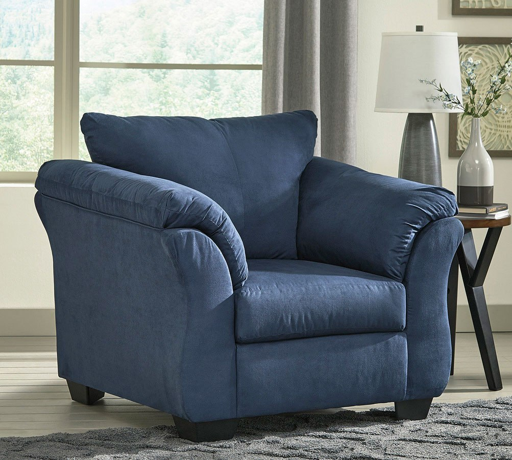 Darcy Blue Sofa Chaise Living Room Set Signature Design, 1 Inside Blue Sofa Chairs (View 10 of 15)