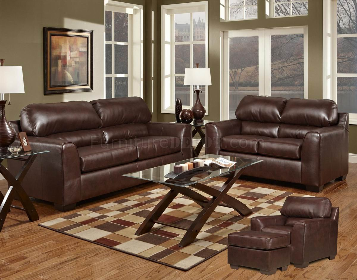 Dark Brown Bonded Leather Modern Loveseat & Sofa Set W/Options In Brown Sofa Chairs (View 4 of 15)