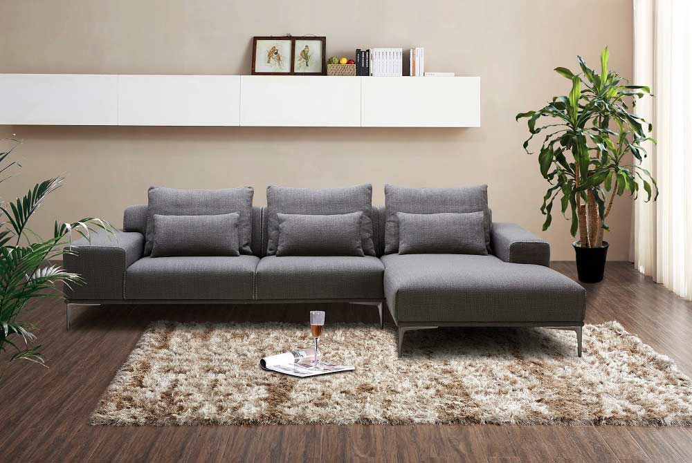 Dark Grey Fabric Sectional Sofa Nj Christopher | Fabric In Ludovic Contemporary Sofas Light Gray (View 12 of 15)