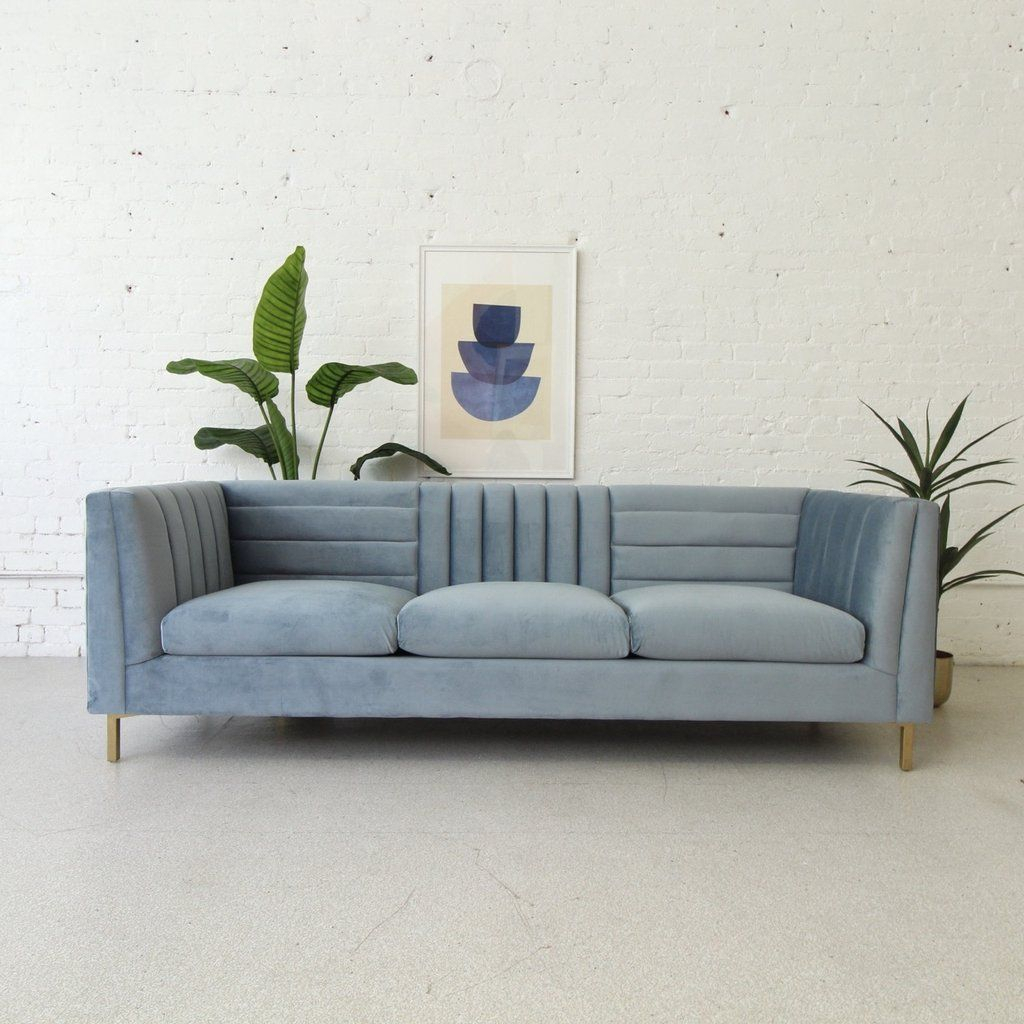 Deco Modern Dusty Blue Sofa | Sunbeam Vintage In 2021 Inside Brayson Chaise Sectional Sofas Dusty Blue (View 6 of 15)