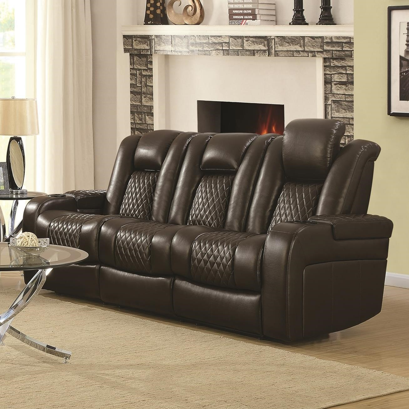 Delangelo Casual Power Reclining Sofa With Cup Holders Within Expedition Brown Power Reclining Sofas (View 8 of 15)