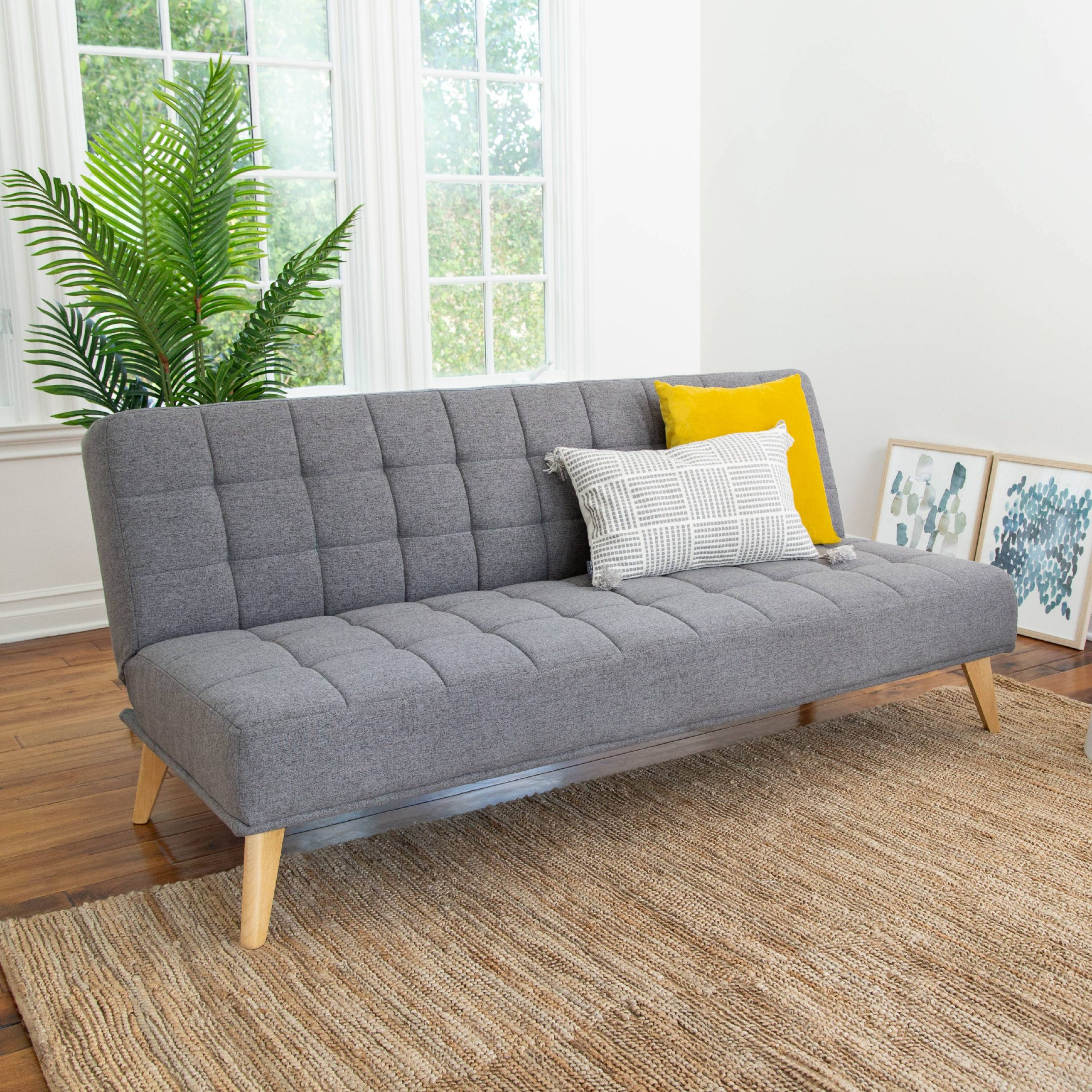 Devon & Claire Miles Tufted Fabric Convertible Sofa Futon For Convertible Sectional Sofas (View 2 of 15)