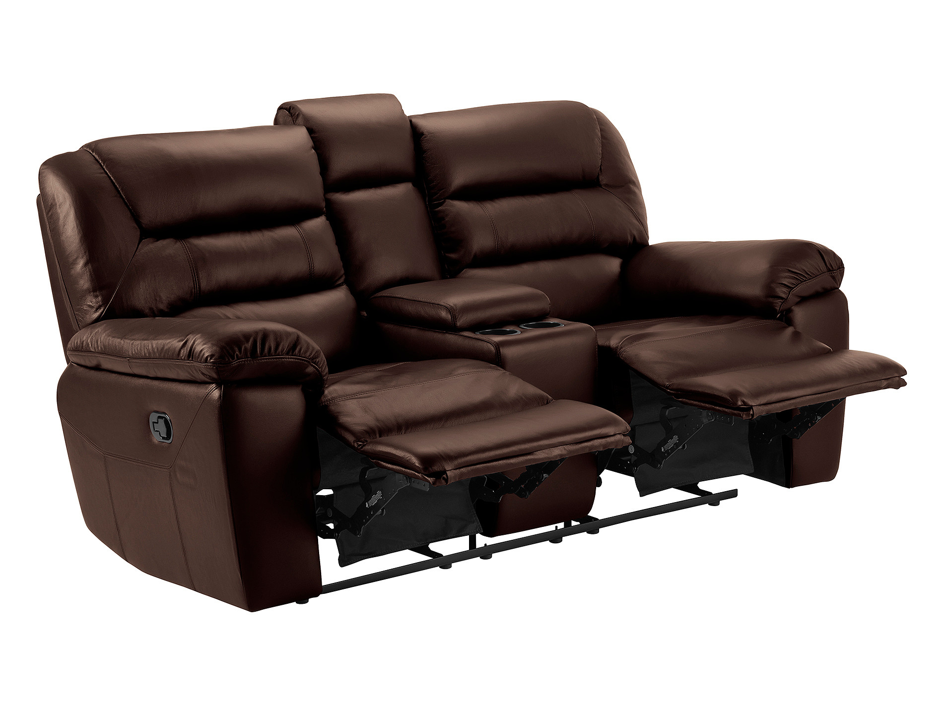 Devon Small Sofa With Manual Recliners – 2 Tone Brown Leather Pertaining To Navigator Gray Manual Reclining Sofas (View 9 of 11)